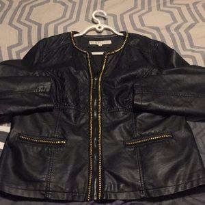 Faux leather Cleo Blazer w/ gold chain details